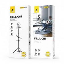 One Plus Treppiedi Led Anello Luce per Cellulari e 1 per Microfono Nero NR9103