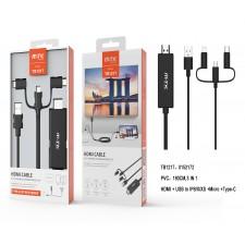 TB1217 NE Cavo HDMI da Cellulari e Tablet a TV, con 3 connettori in 1 (Micro USB + IP 5-X